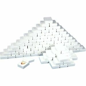 100 White Swirl Cardboard Cotton Filled Jewelry Gift Boxes 3 1 2 X 3 1 2 X 1