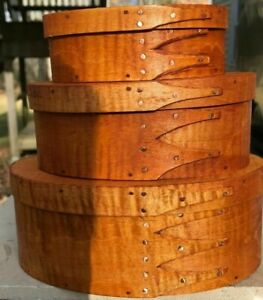 Tiger Maple Shaker Oval Boxes Stack Of 3 Sizes 1 2 And 3