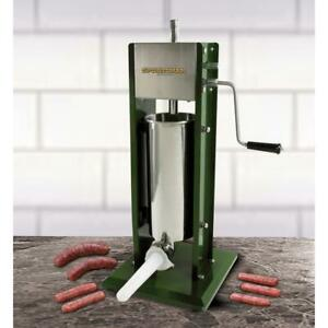 Vertical Sausage Stuffer 11 Lbs Capacity Stainless Steel Canister W 3 Funnels