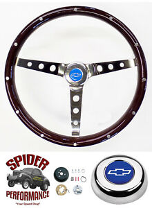 1955 1956 Bel Air 210 150 Steering Wheel Blue Bowtie 15 Classic Wood
