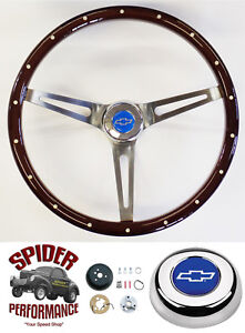 Ididit Flaming River Custom Column Steering Wheel Blue Bow 15 Muscle Mahogany