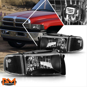 For 94 02 Dodge Ram 1500 3500 Black Housing Headlight Clear Corner Signal Lamps