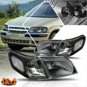For 97 05 Chevy Venture Black Housing Clear Corner Signal Headlight Lamps Pair