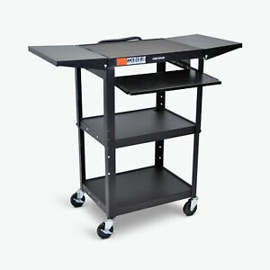 Luxor Adjustable Height Black Metal A v Cart W Pullout Keyboard Tray 2 Dro