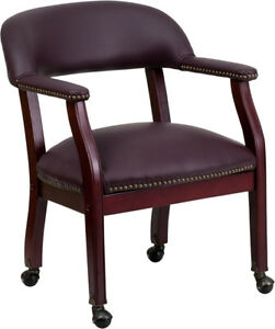 Burgundy Top Grain Leather Conference Chair With Casters B z100 lf19 lea gg