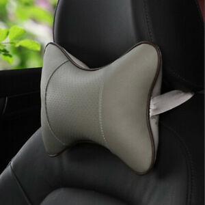 Car Seat Headrest Head Pillow Soft Leather Pad Neck Rest Support Cushion Gray