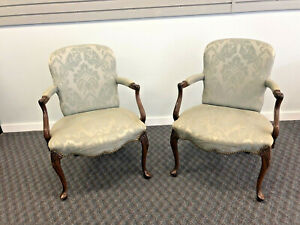 2 Vintage Arm Chair Pair French Provincial Louis Xv Bergere Lounge Tufted Set