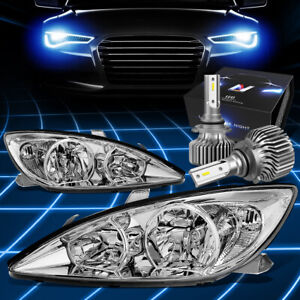 Fit 2002 2004 Camry Xv30 Replacement Headlight Lamp W led Kit Slim Style Chrome