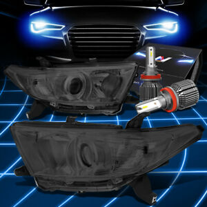 Fit 2011 2013 Toyota Highlander Projector Headlight W Led Kit Cool Fan Smoked