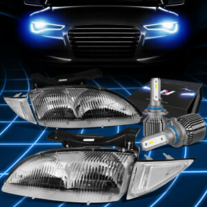 Fit 1995 1999 Chevy Cavalier Oe Style Headlight W led Kit cool Fan Chrome clear