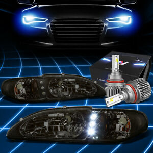 Fit 1994 1998 Ford Mustang Led Drl Signal Headlight W Led Kit Slim Style Smoked