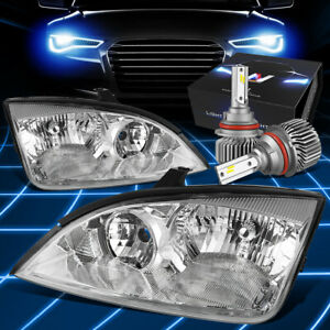 Fit 2005 2007 Ford Focus Projector Headlights Lamps W Led Kit Slim Style Crhome