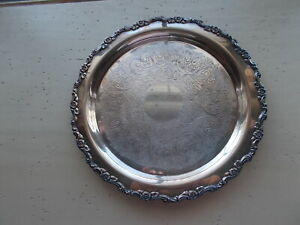 12 1 2 Ornate Antique Vintage Wm A Rogers Silverplated Round Tray Floral Rim