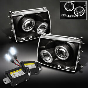 For 97 00 Toyota Tacoma Twin Halo Projector Led Black Head Lights slim 6000k Hid