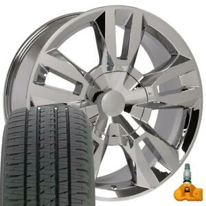22x9 Chrome Wheel Tires Tpms Set Fits Chevy Gmc Tahoe Rst Rally Style