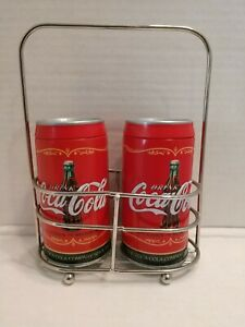 Vtg Style Coca Cola Salt And pepper Shakers In Holder