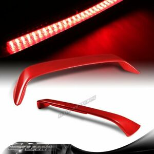 For 2006 2010 Honda Civic Coupe Painted Red Rear Trunk Spoiler Wing Led Brake