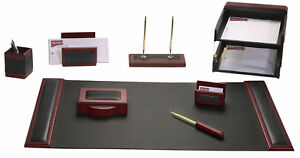 Rosewood Leather 10 piece Desk Set