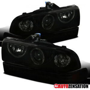 For 1998 2004 Chevy S10 Blazer Black Smoke Halo Projector Headlight Led Bumper