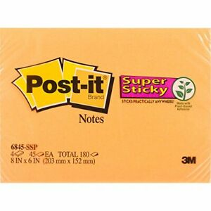 3m 6845 ssp 8 In X 6 In 203 Mm X 152 Mm Rio Post it r Super Sticky Notes 68