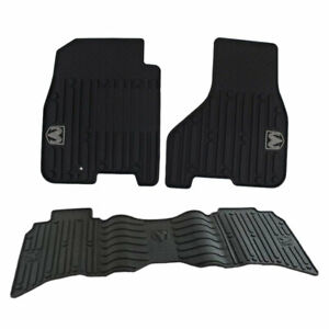 Mopar New Crew Cab All Weather Rubber Slush Floor Mats Kit For Dodge Ram