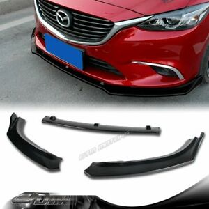 For 2014 2018 Mazda6 Mazda 6 Painted Black Front Bumper Body Kit Spoiler Lip 3pc