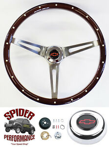 1968 1982 Corvette Steering Wheel Red Bowtie 15 Muscle Car Mahogany