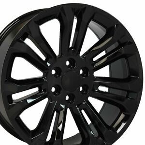 22 Gloss Black 5666 Wheel Set Fits Silverado Tahoe Yukon Escalade Sierra