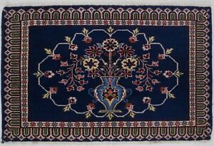 Navy Blue Vintage Small 2x4 Kashaan Hand Knotted Wool Oriental Area Rug Carpet