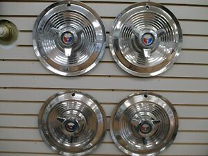 1963 1964 Ford Galaxie 500xl 15 Spinner Wheelcover Wheel Covers Hubcaps Oem Set
