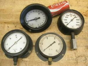 4 Old Vintage Steampunk Industrial Art Gauges 10 000 Psi Ashcroft Jas P Marsh