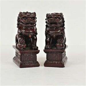 Red Chinese Carving Resin Fu Foo Dog Guardian Door Lions Statues Set Of 2