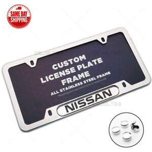 For Nissan Sport Front Rear License Frame Plate Cover Stainless Steel Chrome