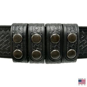 Perfect Fit Leather Duty Belt Keepers 1 Basketweave Black Snap Usa Made 4 Pak