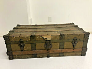 Vintage Brown Steamer Trunk Industrial Wood Chest Coffee Table Box Wooden Base