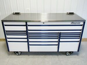 Snap On White Blue 84 Epiq All Drawer Tool Box Toolbox Stainless Steel Top
