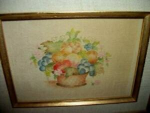 Theorem Painting Velvet Fruit Basket Vintage Signed Sisco Gilt Ornate Frame