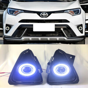 2x Led Drl Daytime Day Fog Lights angel Eyes For Toyota Rav4 2016 2018