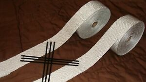 3 Rolls Vibrant White Exhaust Wrap 2 X 120 Exhaust Headers Wrap W 16 Ties Sbc