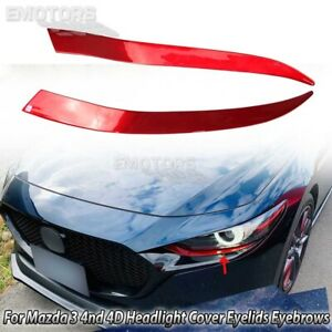 Color Red For Mazda 3 4th Hatchback Front Headlight Cover Eyelids Eyebrows 2020