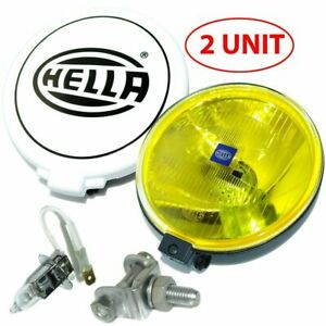 Pair Hella Comet 500 Driving Lamp Yellow Spot Light With Cover Universal Fit Ecs