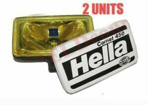 Pair Hella Comet 450 Spot Driving Yellow Light With Cover H3 Bulb 55w 12v Ecs