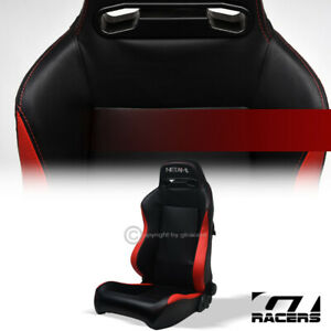 1pc T r Black red Pvc Leather Stitch Reclinable Racing Bucket Seat For Gmc Honda