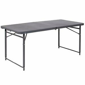 23 5 w X 48 25 l Height Adjustable Bi fold Dark Gray Plastic Folding Table