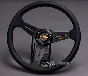 350mm Momo Car Steering Wheel Pu Leather Sport Horn Button Auto Black