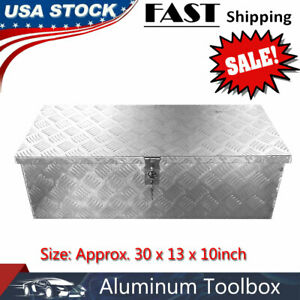 Truck Trailer Transport Box Aluminum Storage Case Toolbox Large With Keys Silver