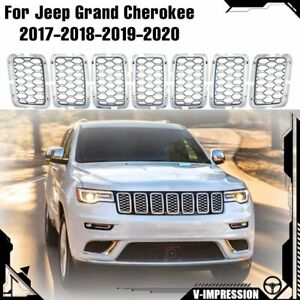 Chrome Mesh Honeycomb Inserts Grille For Jeep Grand Cherokee 2017 2018 2019 2020
