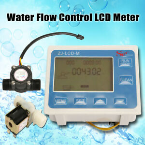 1 2 Water Diesel Fuel Oil Flow Meter Lcd Display flow Sensor Solenoid Us