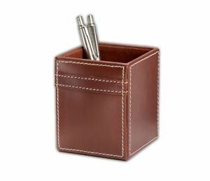 A3210 rustic brown leather pencil cup