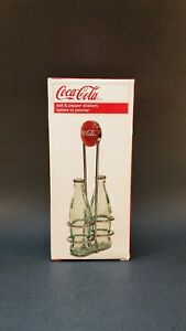 Tablecraft Coca Cola Salt and Pepper Shakers Vintage Green Glass